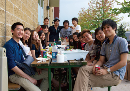Barbecue party with exchange students from Asia